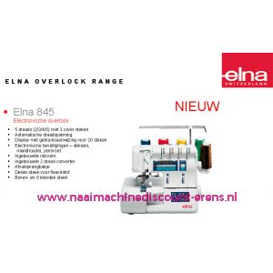 Elna 845 lockmachine + GRATIS AFVALZAK + 5 Jaar garantie / 001001