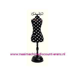 010192 / Speldenkussen pasvorm Polka Dots Black/White 610319