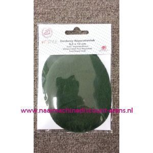 010331 / Donker groen Rib Fluweel Elleboogstuk