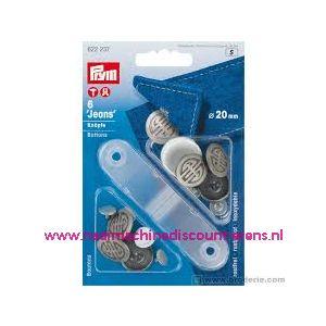 010441 / Jeansknopen zilver 6 stuks 20 Mm inslaan Prym art. nr.622237