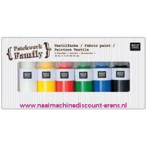 010784 / Textielverf 6 kleuren a 22 ML art. nr. 500050.131