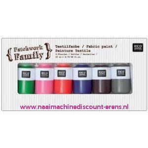 010789 / Textielverf 6 kleuren a 22 ML art. nr. 500050.130