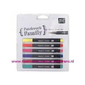 010792 / Textielstiften Dun 6 kleuren art. nr. 500050.121