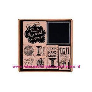 010795 / Stempelserie hout met inkt 7 soorten