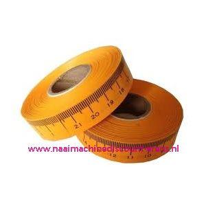 Zelfklevende meetband, inch (oranje) rechts/links 1 rol=20 m