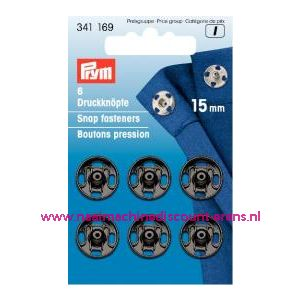 001254 / Drukkers Ms Zwart 15 Mm prym art. nr. 341169