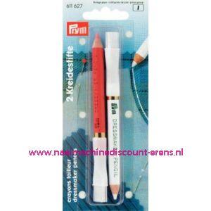001486 / Krijtpotloden Wit/Rosa Prym art. nr. 611627
