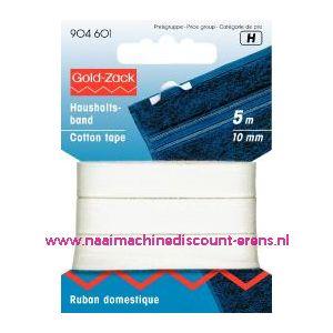 001546 / Huishoudband 10 Mm Wit Goldzack art. nr. 904601