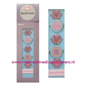 002265 / Handmade label set kleur blauw / bont prym art. nr. 403782