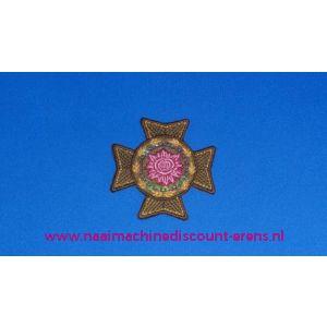 002839 / Groen Kruis met Rose Roos