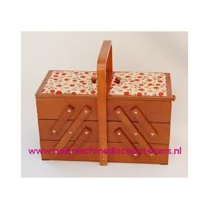 009887 / Houten Naaikist 3 etages creme roze bloem stof prym 612514