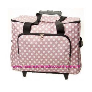 Mobiele koffer polkadot dessin rose art. nr. 4680-340014