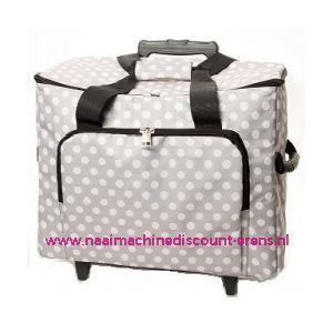Mobiele koffer polkadot dessin grijs art. nr. 4680-340016